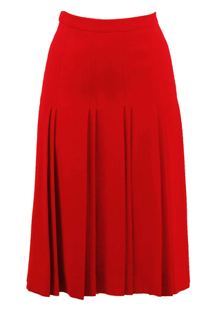 Bright Red Pleat Detail Skirt - S