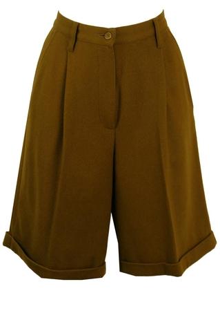 Olive Green Woollen Shorts - S/M