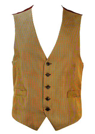 Silk Waistcoat with Tonic Gold, Red & Blue Houndstooth Check - L