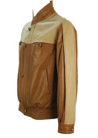 Brown Leather Bomber Jacket with Beige Trim Detail - M