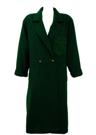 Max Mara Dark Green Wool Coat with Embroidered Horse Pocket Detail - M/L