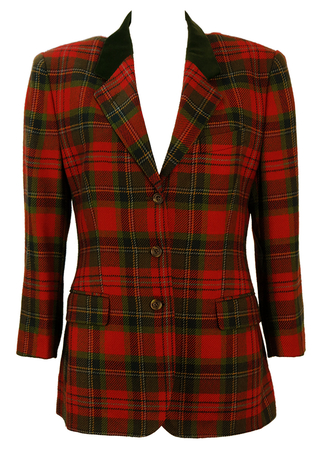 Austin Reed Red & Green Tartan Jacket with Velvet Collar - S/M