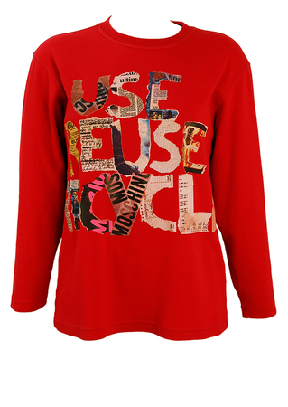 Moschino Large Slogan 'Use Reuse Recycle' Red Top - M