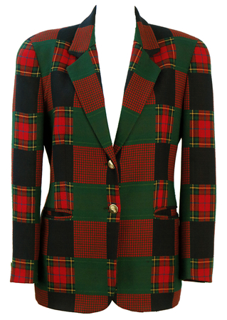 Tartan & Houndstooth Patchwork Check Jacket in Green, Red & Blue - M/L