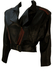 Vintage 80's Cropped Batwing Black & Brown Leather Jacket with Cinch Back Detail - M