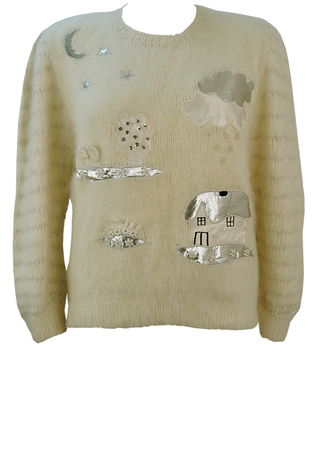 Cream Jumper with White & Silver Cartoon Style House & Garden Shapes - M