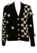 Black & White Cardigan with Checkerboard Pattern & Pom Pom Detail - M/L