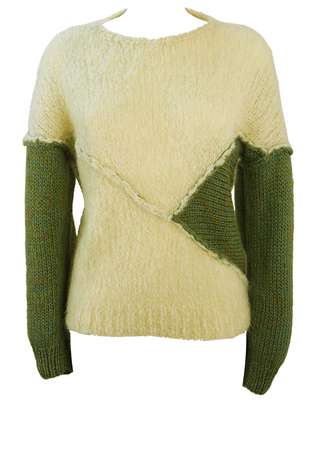 Cream Knit Jumper with Jade & Olive Green Sleeve Detail - S/M