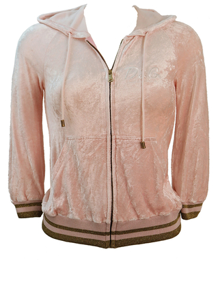 Dolce & Gabbana Pink Velour Hoody with Metallic Gold Trim - XXS/XS