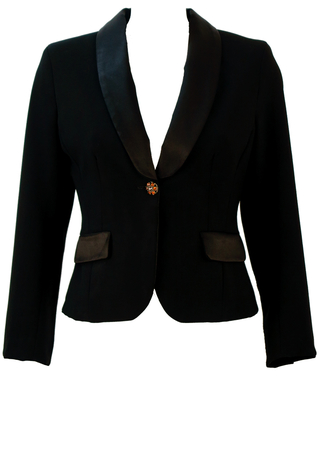Black Fitted Tux Jacket with Diamante Amber Buttons - S