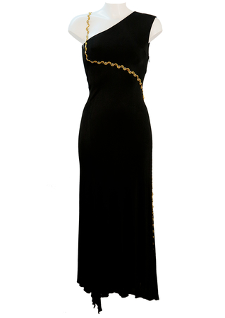 Max Mara Long Black Evening Dress with Gold Strap Detail & Side Split - XS/S