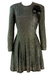 Shimmery Black & Metallic Silver Mini Party Dress with Applique Black Rose - S/M