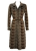 70's Long Sleeved Midi Dress in Chevron and Check Print - M/L
