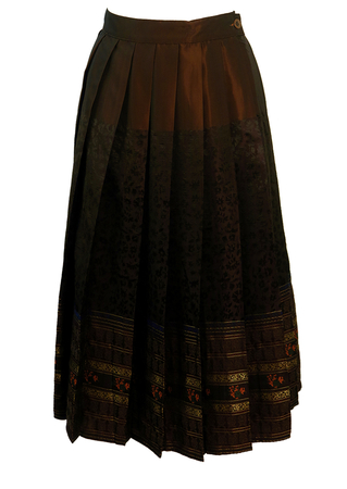 Max Mara Brown & Metallic Gold Satin Pleated Midi Skirt with Floral Pattern - S/M