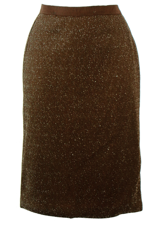 Vintage 60's Brown & Silver Sparkly Pencil Skirt - S