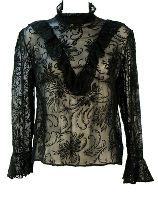 Victorian Style Black Sheer Top with Sparkly Flock Floral Pattern & Ruffle Collar Detail - L