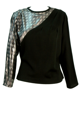 Vintage 80's Black Batwing top with Asymmetric Silver Paisley Detail - M