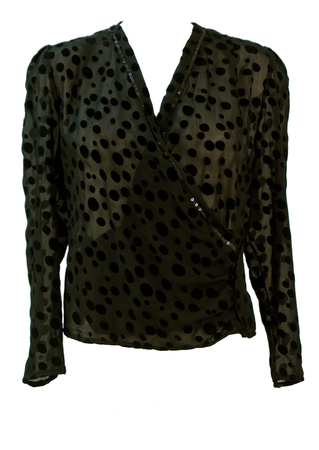 Black Semi Sheer Wrap Blouse with Flock Polka Dots & Sequin Trim - L