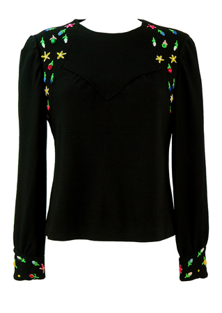Vintage 60's Black Jersey Top with Colourful Floral Embroidery Detail - M