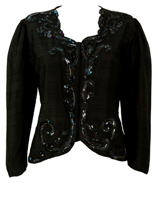 Black Raw Silk Jacket with Sequin & Beading Embellishments - M