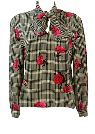 Silk Pussy Bow Blouse with Black & White Prince of Wales Check & Pink Flowers - M/L
