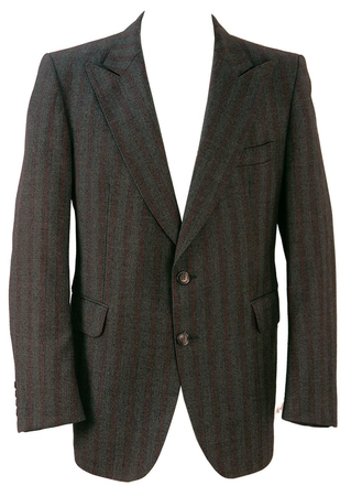Grey and Red Pinstripe Blazer - L/XL