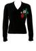 Black V-Neck Jumper with Embroidered Strawberry Design - S