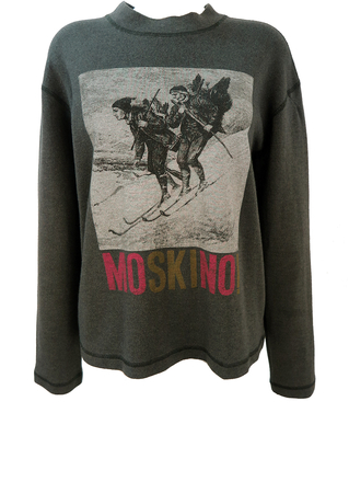 Moschino Gothic Image Ski Themed Grey Top with MoSKIno Play on Words - L
