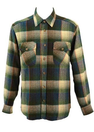 Belfe Blue and Green Checked Flannel Shirt - L/XL