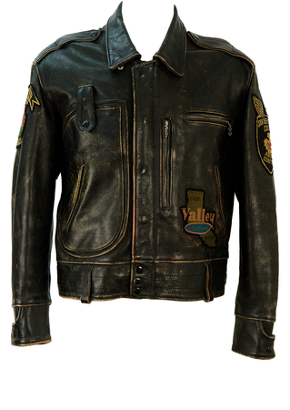 Vintage Distressed Lee Trevor Black Biker Jacket with Graphic Badges - M