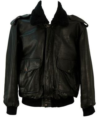 Black MA2 Leather Bomber Jacket with Detachable Sherpa Collar - L/XL