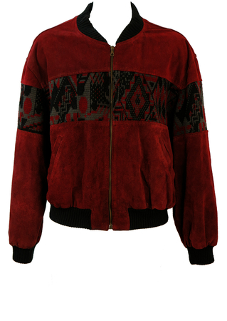 Vintage 90's Burgundy Suede Bomber Jacket with Geometric Knitted Panel - XL