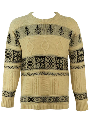 Nordic Style Cream & Black Patterned Wool Jumper - M/L