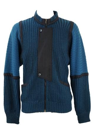 Blue & Black Striped Zip Up Cardigan - M/L