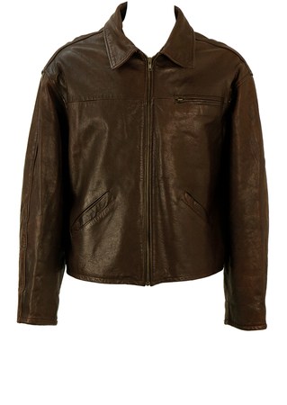 Vintage 90's Brown Leather Jacket - L