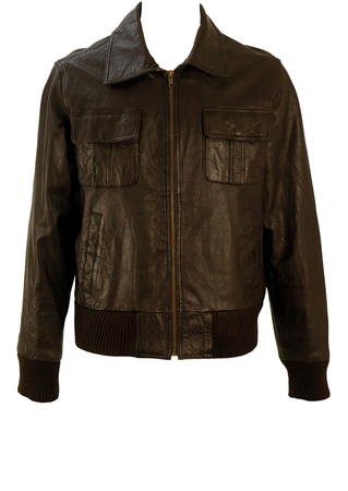 Brown Leather Bomber Jacket - M/L