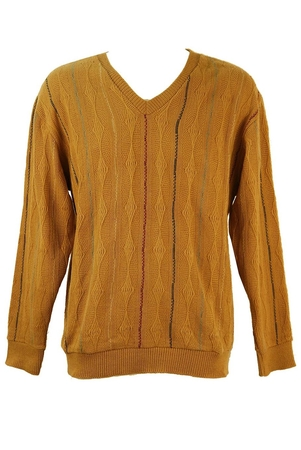 V Neck Camel Jumper with Striped Pattern - L / XL