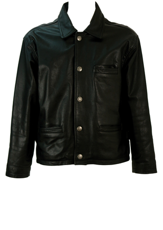 Vintage 90's Black Leather Jacket with Silver Button Detail - M/L