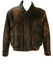 Two Tone Mottled Brown Leather Bomber Jacket - M/L