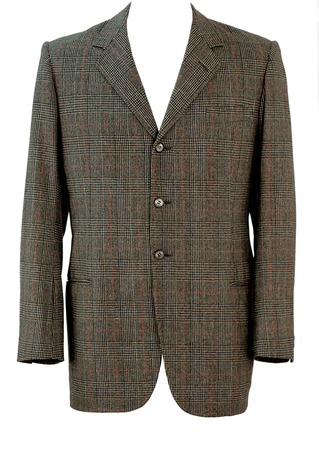 Prince of Wales 60's Style 3 Button Blazer in Black, White & Red - M/L