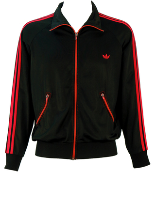 Vintage 70's Adidas Black Track Jacket with Red Stripes and Curved Pockets - M/L