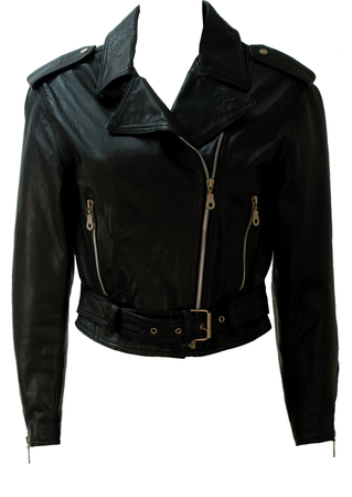 Black Leather Biker Jacket - S