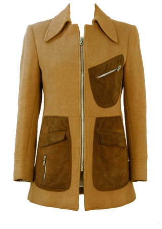 Vintage 70's Fitted Camel Coloured Coat with Brown Suede Pocket Detail - S