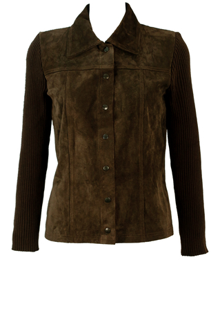 Brown Suede Fronted Shirt/Jacket with Ribbed Knit Sleeves & Back - S/M