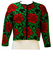Kenzo Cropped Cardigan with Bold Red & Green Rose Pattern - M