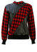 Red & Black Dogtooth Check Jumper with Black Leather Panels - M