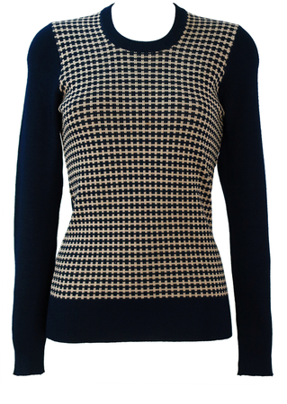 Vintage 60's Blue Jumper with Abstract Blue & Cream Dogtooth Check Pattern - S