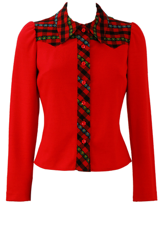 Vintage 60's Red Blouse with Black & Red Check & Floral Detail - S
