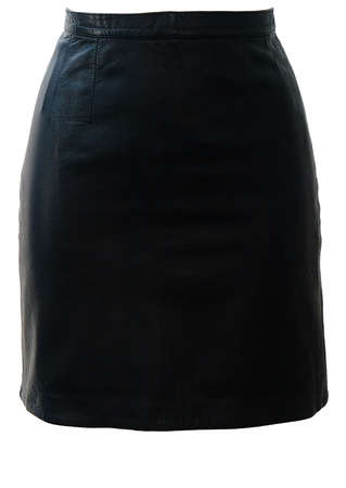 Navy Blue Leather Mini Skirt - XS/S