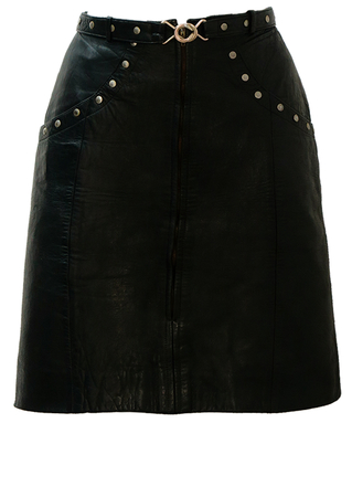 Black Zip Front Leather Mini Skirt with Silver Stud Detail - S